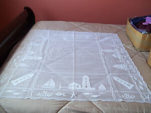 HERITAGE LACE WHITE LIGHTHOUSE SHEER TABLE TOPPER 42X42 BEAUTIFUL ITEM 2878