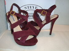 Steve Madden Womens NWB Tarrrah Burgundy Sandals Shoes 8 MED NEW