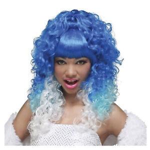 Women's Blue White Rap Star Curly Halloween Nicki Minaj Fairy Naiad  Costume Wig