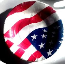 LOT PAQUET 10 ASSIETTE CARTON Ø 20 cm USA AMERIQUE anniversaire NEUF DRAPEAU