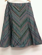 M&S Green Skirt Size 16 Patterned <J5539