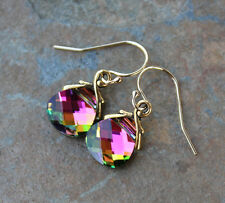 Northern Lights Gold Earrings -Pink Swarovski crystals- 14k gold filled hooks