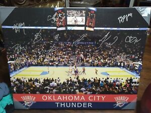 """Autographed Oklahoma City Thunder 23"""" X 28"""" Canvas Signed by 12 Kevin Durant"""