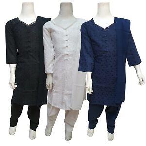 Girls Indian Cotton Suit Kids Pakistani Chikan Embroidered Salwar Kameez Shalwar