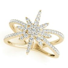 Star Right Hand Split Shank Ring New Ladies 14k Yellow Gold Diamond Northern