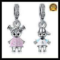 925 Sterling Silver On Pandora Couple Little Girl & Boy Pendant Charm Beads
