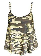 Womens Plain Swing Vest Sleeveless Top Strappy Cami Ladies Plus Size Flared Dog Tooth Print UK 8-10