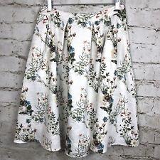 LUCY PARIS Jardin A Line Skirt White Floral Print Pleat Medium M Career Casual