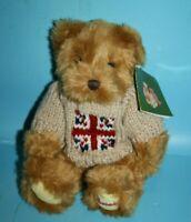 "Harrods Teddy Bear 10"" Soft Toy Brown Plush Union Jack Flag Sweater Stuffed New"