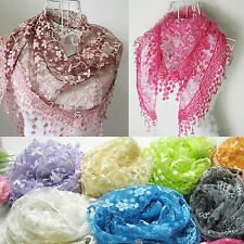 New Women Lace Tassel Scarf Rose Floral Knit Mantilla Triangle Hollow Shawl