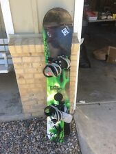 Ride Catalyst 156cm Snowboard With Large Burton Freestyle Bindings.