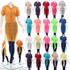 Ladies Chiffon Cover Up Aline Long Shirt Kimono Cardigan Button Maxi Up Kaftan