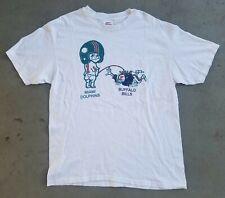 Vintage Miami Dolphins Buffalo Bills Calvin & Hobbes Inspired White Large Tshirt