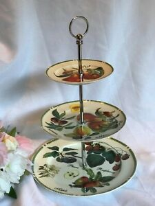 William James 3 Tier Tidbit Cake Stand with Fruit Pattern