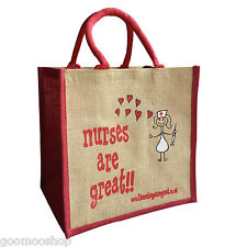 """Nurses are Great"" Jute Shopper from These Bags Are Great"