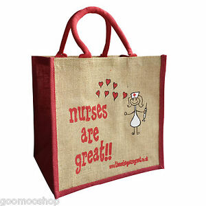 """""""Nurses are Great"""" Jute Shopper from These Bags Are Great - Good Size Gift Bag"""