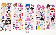 5 sheets PVC  changing dress up Sticker lot-kids Reward  sticker Birthday  gifts