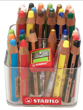 32 Stabilo woody 3 in 1 Buntstifte mit Stiftehalter + Spitzer, Kindergarten Box
