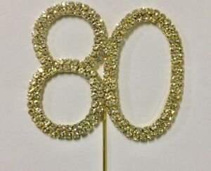Crystal Rhinestone GOLD Number 80 80th Birthday Cake Cupcake Topper