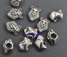 30pcs Lion Tibetan Silver Bead Fit European Charm Bracelet 13x8mm G3427