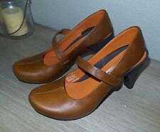 Women's TSUBO Acrea Brown Leather Mary Jane Slingback Pumps Heels Shoes 8/38