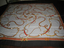 """Horse Leather Tack Scarf Polyester Red Black Gold Tan 46"""" Square Made in Italy"""