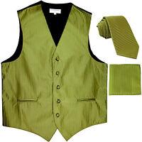 New Men's Formal Vest Tuxedo Waistcoat_necktie set stripes wedding Spanich Green