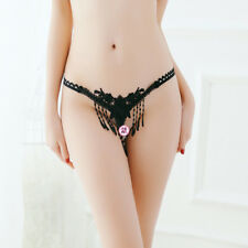 LE Ladies Sexy Embroidered Transparent Pearl Open Hot Low Waist T-Thong