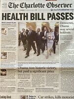Affordable Care Act (ACA) Obamacare Passed March 22 2010 The Charlotte Observer