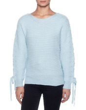 Magaschoni Cashmere Lace Up Sleeve Sweater Daydream Blue Womens Large *NEW* $268