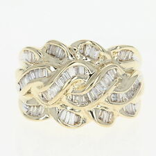 Diamond Woven Ring - 14k Yellow Gold Braided Knot Baguette .90ctw