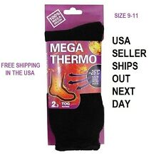 UNISEX Heated Socks Thermal MEGA THERMO 2.3 TOG SOLID BLACK SIZE 9-11 FREE SHIP