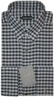 NEW TOM FORD BLACK & GRAYS GINGHAM CHECK FRENCH CUFF DRESS SHIRT 40 15.75 $580