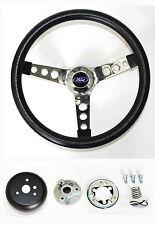 49-56 Ford Ranch Wagon Skyliner Grant Black Steering Wheel 13 1/2 Chrome spokes