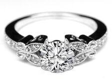 Engagement Ring 14K White Gold Forever One Round Moissanite Butterfly Vintage