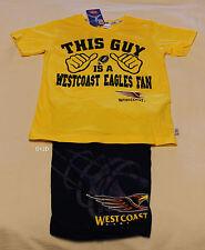 West Coast Eagles AFL This Guy Boys Yellow Navy Printed Pyjama Set Size 16 New