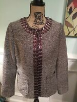 Dana Buchman tweed jacket with jeweled trim size 6