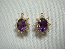 2 STUNNING 14K YELLOW GOLD DIAMOND & OVAL AMETHYST PENDANTS OR EARRING SET