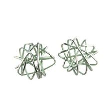 Round Cage Chaos Aqua Blue Titanium Stud Earrings