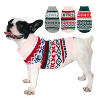Christmas Dog Sweater French Bulldog Clothes Knitted Winter Warm Apparel Yorkie