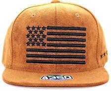 USA FLAG BLACK EMBROIDERY CAMEL SUEDE SNAP BACK HAT BASEBALL CAP ADJUSTABLE