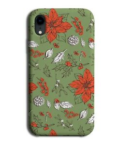 Christmas Floral Design Phone Case Cover Pattern Leaves Holly Mistletoe M601A