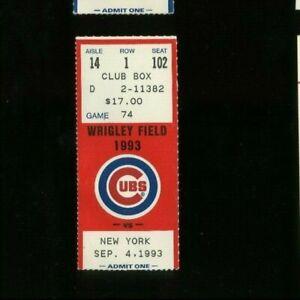 9-4-1993 New York Mets @ Chicago Cubs Baseball Ticket - Eddie Murray HR #436