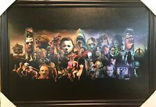 Horror Collage Freddy Jason Chucky Jaws Solid Wood Framed Textured Picture Print