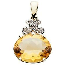 7.0ct Citrine & 10 Diamond 9ct 375 Solid Gold Pendant - 30 Day Returns FREE Ship