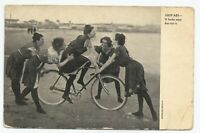 VTG 5 Women Riding Bicycle On Beach In Black Dresses 1908 Unique Pose Postcard