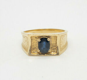Estate Sapphire Men's Ring 14k Yellow Gold Size 8.5