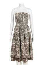 NWT BARNEYS Dress Size 4 Grey Taupe Cream Strapless Below Knee Printed Tiered