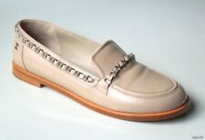 $995 CHANEL tan leather silver CHAIN TRIM LOGO flat loafers 39.5 9.5 9 worn once