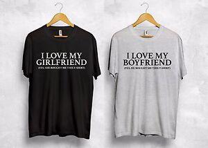 I Love My Boyfriend Girlfriend T Shirt King Queen Wifey Hubby Couple Gift